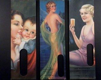 Choose From 3 - Antique 1930s Salesman Samples Display Lithograph Advertising Covers for a Thermometer. Art Deco Figural Lithos.