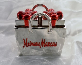 Vintage Neiman Marcus Christmas Box Salt and Pepper Shakers In A Carry Shopping Bag. Painted Enamel Bow, SIlver Chrome Finish - Base Metal