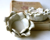 White Rose Dish - Rustic Home Decor  - Ring Holder Dish - Tealight Candle Holder - Ready to Ship - BackBayPottery