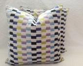 """Designer Guild UPPSALA -Cobalt. VELVET accent cushion cover. Yellow, Blues, Purple & White check square velvet 20"""" 50cm cushion pillow sham"""
