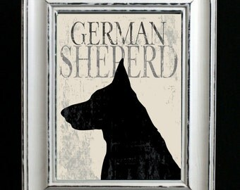 German Shepherd Dog Art Print, Grunge Silhouette, German Shepherd Artwork