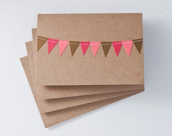 Cards with Bunting Flag in Pink and Gold