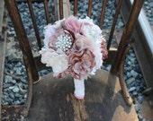 Brooch bouquet, pink bouquet, dust pink bouquet, shabby chic bouquet, pink brooch bouquet, forever bouquet
