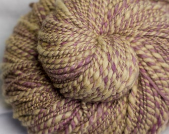 Lilac and Coffee : Handspun yarn - 210 yards / 2 ply / Worsted