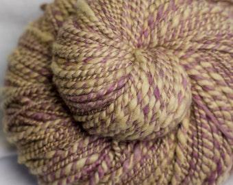 Lilac and Coffee : Handspun yarn - 210 yards / 2 ply / Worsted