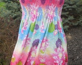 Handmade Smocked Maxi Womens Sundress Flower pattern size L