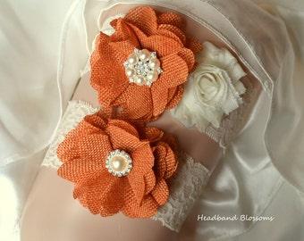 BEST SELLER - Bridal Garter Set - Keepsake & Toss Wedding Garters - Orange Burlap Chiffon Flower Pearl Lace Garters - Ivory - Rustic Wedding