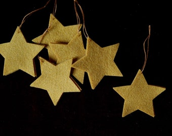 Gold Star Christmas Ornaments - Traditional Holiday Decorations - Set of 6