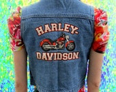 Harley Davidson Motorcycle Cropped Denim Mini Cutoff Vest
