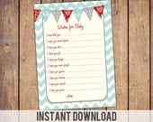 Instant download Wishes for Baby card, blue and red, gender neutral, baby shower games, wishes for baby
