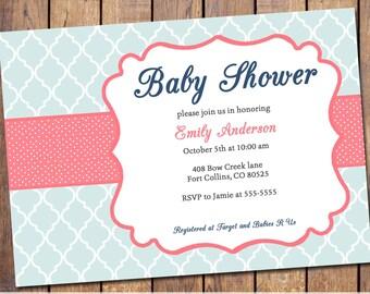 Gender Neutral Baby Shower Invitation with quatrefoil , girls Baby Shower Invitation, mint and pink, digital, printable file (item271)