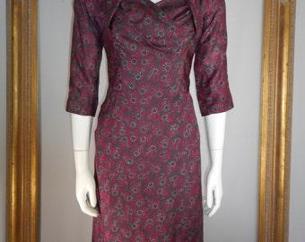 Vintage 1960's Cresta Couture Red & Grey Print Silk Dress - Size 8