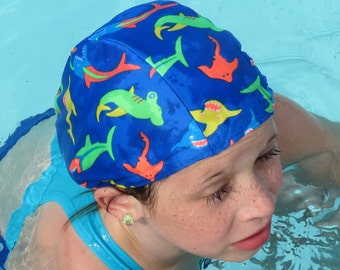 Lycra SWiM CaP - ELECTRIC SHARKS - Sizes - Baby , Child , Adult , XL - Made from Spandex / Swimsuit Swimming Fabric -by Froggie's Swim Caps