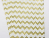 "Set of 20 METALLIC GOLD and White Chevron Design Middy Bitty Bags (5"" x 7.5"")"