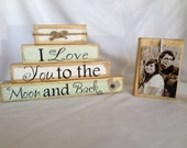 Personalized wedding gift/decoration i love you to the moon and back shabby chic rustic wedding shower anniversary personalized gift cream
