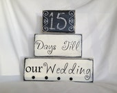 Personalized wedding gift reception rehearsal dinner decor count down to wedding black and white chalkboard wooden blocks shabby chic rustic
