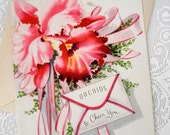 Vintage Get Well Greeting Card Unused Midcentury 50s Ephemera Pink Orchid Corsage Shabby Cottage Chic Feel Better Paper Ephemera