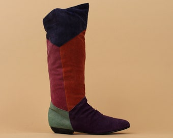 80s 90s Vtg Color Block Suede LEATHER Neon Boots / Tall Knee High - Mid Calf / Geometric New Wave / sz 7.5 - 8 / Euro 38 - 38.5