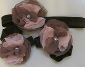 Taupe and Pale Pink Chiffon Baby Barefootin Sandals and Headband Set
