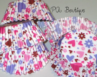 """75ct. ADORABLE """"Polka Dots Hearts & Flowers"""" Standard Cupcake Liners Baking Cups"""