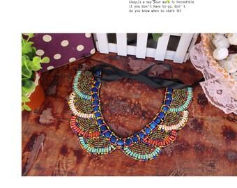 Ethnic colorful bead collar.