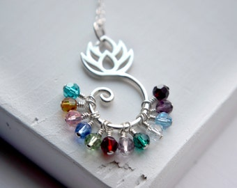 Sterling Silver Mother's Day Gift | Large Family Birthstone Necklace | Lotus Charm Holder | Birthstone Crystals | Personalized Birthstones