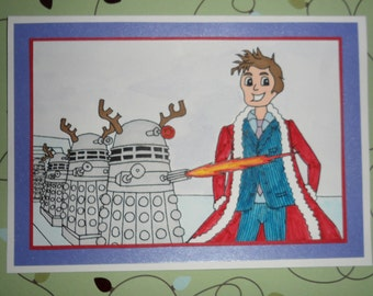 Dr Who Christmas Santa and the Daleks Card