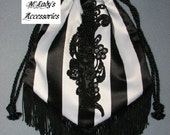 HANDBAG RETICULE in Elegant Black and White Stripe Satin Accented with Black Embroidered Applique and Fringe Victorian Bridal Reenactment