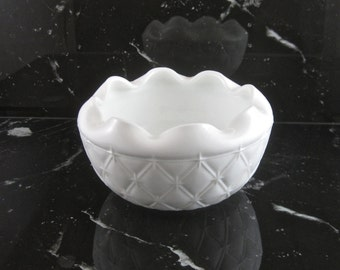Vintage Milk Glass Bowl by Indiana Glass Co in Duette pattern