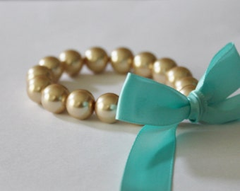 Gold Pearl and Turquoise Ribbon Bracelet