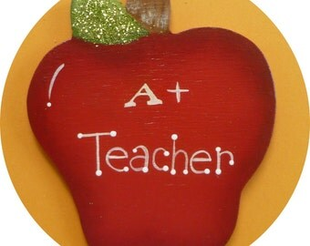 Teacher Apple Pin/Magnet  Hand Painted Wood