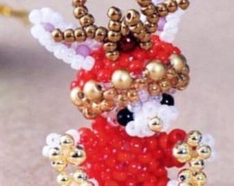 Cute Bunny Reindeer Mascot Seed Beads Miyuki Beading Pattern PDF