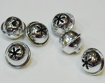 Snowflake Silver Jingle Bells, 13mm Shiny Metal Craft Ringing Bells, Jewelry Pendant Charms, Tiny Feather Tree Ornaments, 6 itsyourcountry