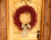 BURLAP RED BERRY Wreath-Large Door Wreath-Summer Wreath-4thJuly Wreath-Country Chid Home Decor-Scented Cinnamon Vanilla-Custom-Choose Scent