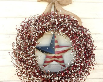 4th of July-Summer Door Wreath-PATRIOTIC Door Wreath-July 4th Decor-Primitive Star Wreath-Military Home Decor-Wall Hanging-CUSTOM Gifts