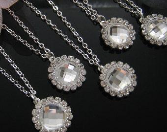 SET of 6 - 15mm Rhinestone Necklace Bridesmaids, Bridal Necklace Wedding jewelry W033