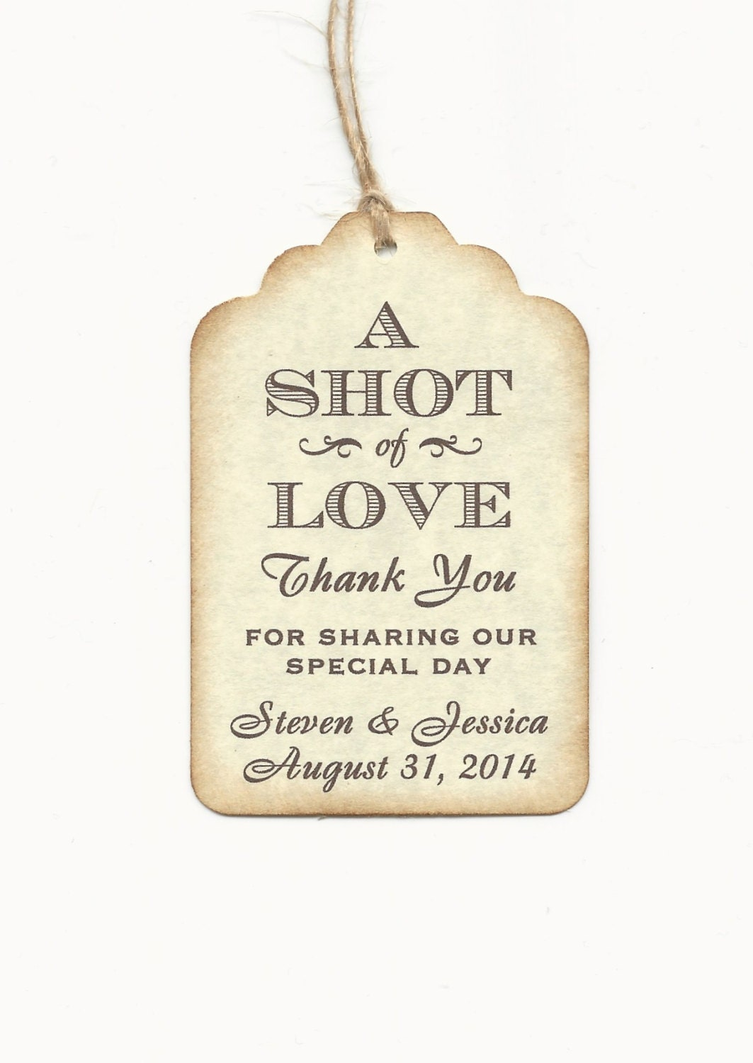 Gift Tags For Wedding Favors: 100 CUSTOM Personalized A SHOT Of Love Wedding Favor Tags