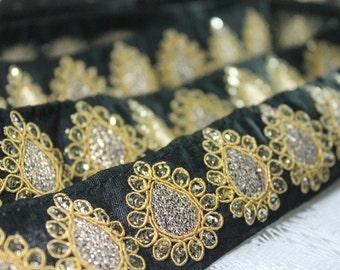 Black Fabric Trim-Embroidered Paisley Design-Sequin Work Sari Border-Black Sari Silk Border Trim By The Yard