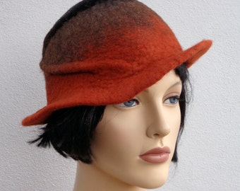 Assymetrical retro hat, rust and black felt cloche, 1920s inspired hat, art deco fashion, 20s accessory, winter hat