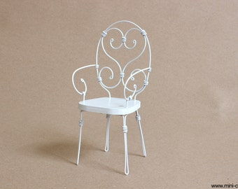 1/6 scale Chair / White Wrought Iron / French bistro miniature furniture for Fashion dolls (Blythe, Barbie, BJD, Pullip, Obitsu, Momoko)
