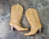 7 1/2 B Frye Cowboy BOOTS / Vintage leather Stacked heel Women's Boots / Western Shoes