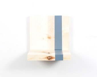 Modern Floating Shelf - Set of 3 - Natural Wood Modern Stripe - Shelves - Wall Storage - Bookshelves - Gray, White, Custom Color - Simple