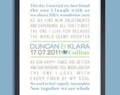 Custom Wedding Gift, Personalized Wedding Gift, Wall Print (vows, custom song, poem) blue & green, custom colors