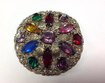 "Lovely Vintage Multi Colored Rhinestone Brooch Pin 2.25"" Gold Tone"