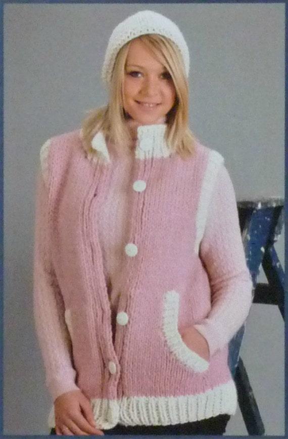 Knitting Pattern Ladies Gilet : Womens Knitting Pattern W5579 Ladies Easy Knit Plus sizes Gilet with Optional...