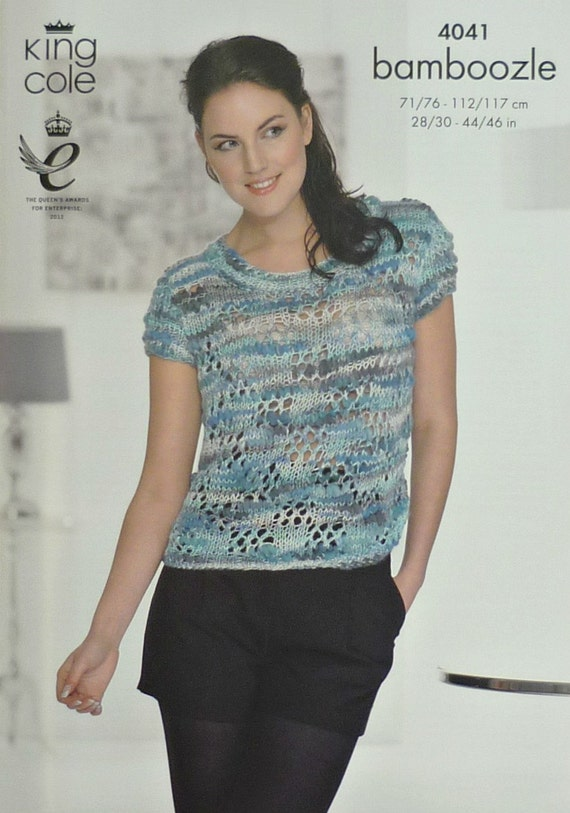 Knitting Pattern Ladies Short Sleeve Jumper : Womens Knitting Pattern K4041 Ladies Short Sleeve Lacy Jumper