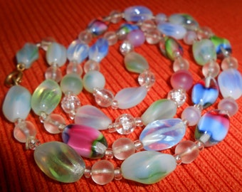 Art Glass Strand Necklace Multi Colored Beads
