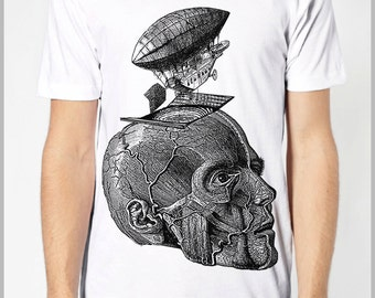 Steampunk Clothing T Shirt - Thoughts Take Flight - Steam punk Balloon Zeppelin Head Skull Science American Apparel Tee Shirt