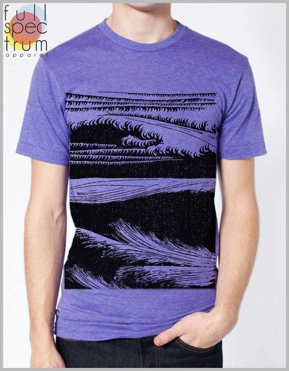Block Print style Graphic Tee Men's T Shirt - Waves - American Apparel XS, S, M, L, XL 9 COLORS