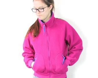 SALE Vintage Retro Bright Pink Colored Columbia Fleece